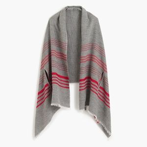 J.Crew Gray and Red Striped Cape-Scarf